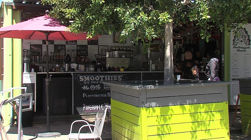 A coffee shop at Quartyard, a temporary park in San Diego's East Village, May...