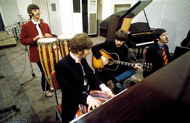 The Beatles at Abbey Road Studios, London, January 1967. Left to right: Ringo...