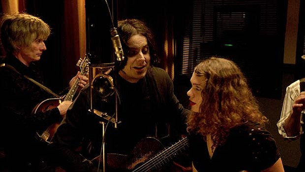 "Jack White (center) recording ""Matrimonial Intentions"" at Vox Recording Studi..."