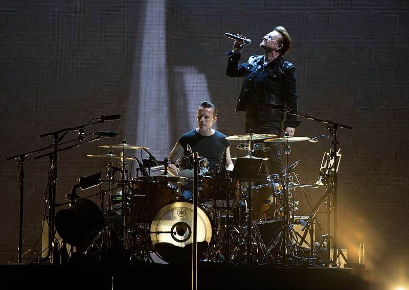 Bono and Larry Mullen Jr. of U2 perform at the Rose Bowl during The Joshua Tr...