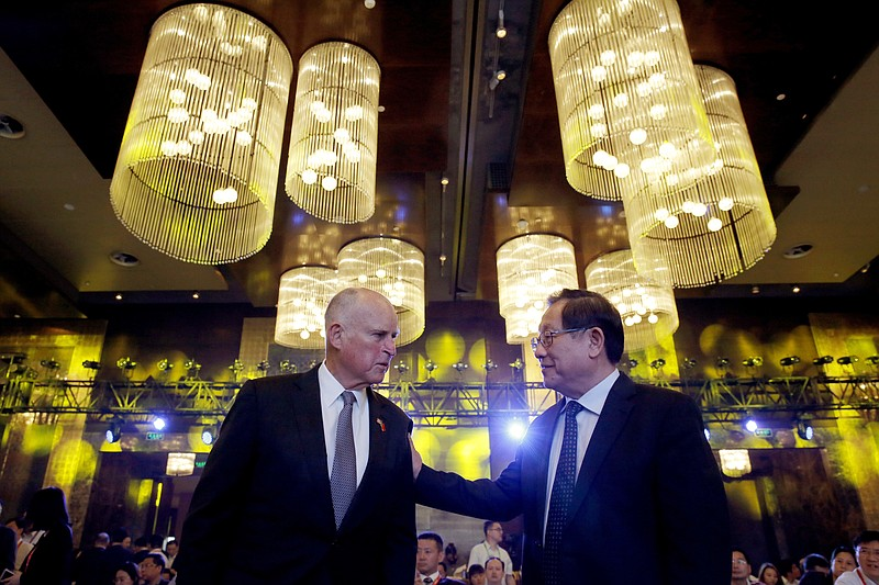 California Gov. Jerry Brown, left, chats with China's Science and Technology ...