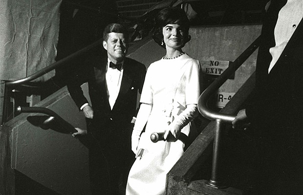 President and Mrs. Kennedy at the pre-inaugural gala at the National Armory, ...