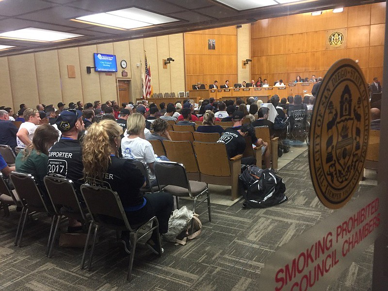 SoccerCity supporters sit in as the San Diego City Council decides the future...