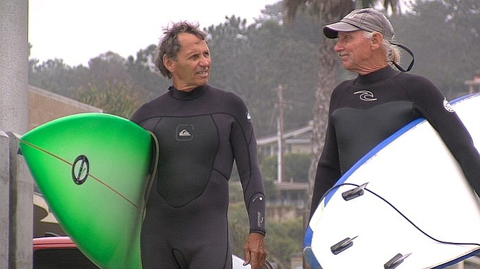 Vietnam veterans James Lischer, left, and Bobby Lux get ready to surf at Del ...