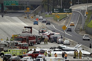 Plane Crashes In Flames On California Freeway, 2 Injured