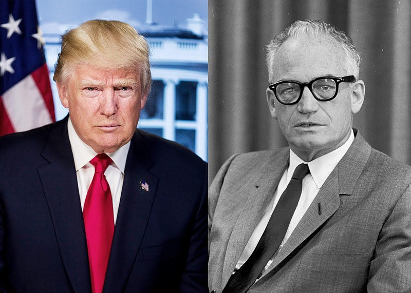 President Donald Trump and Barry Goldwater shown in these undated photographs.