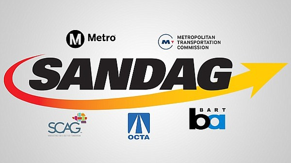 The SANDAG logo is seen surrounded by the logos of other transportation plann...