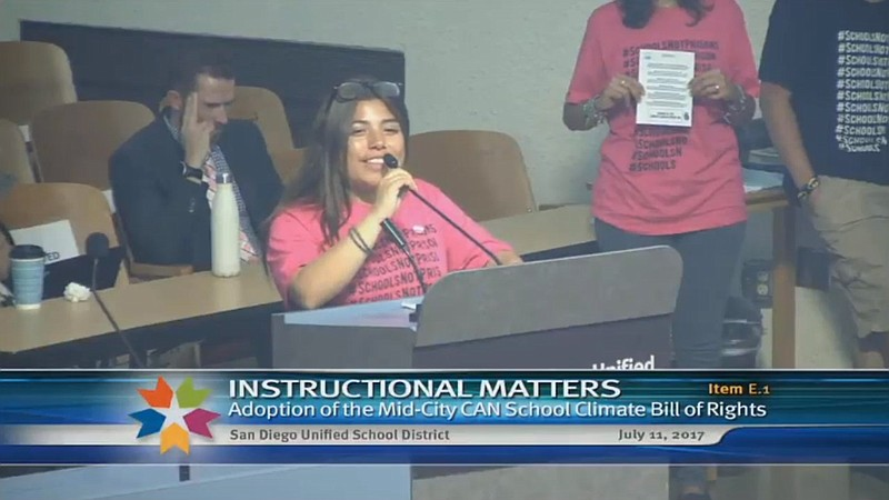 Student Jazmine Bravo speaks in support of Mid City CAN's School Climate Bill...