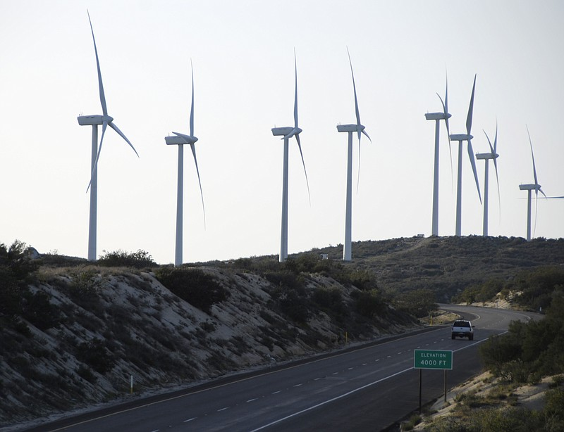 Wind turbines dot the landscape along Interstate 8 in east San Diego County, ...