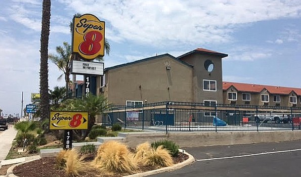 The Super8 motel on Palm Avenue in the Nestor district of San Diego. July 16,...