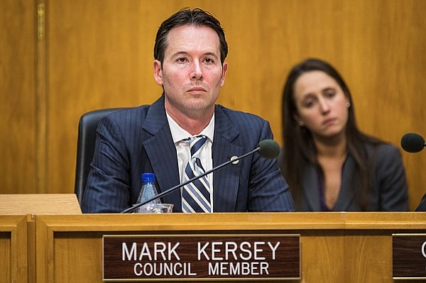 San Diego City Councilman Mark Kersey sits at the dais, Dec. 12, 2016.