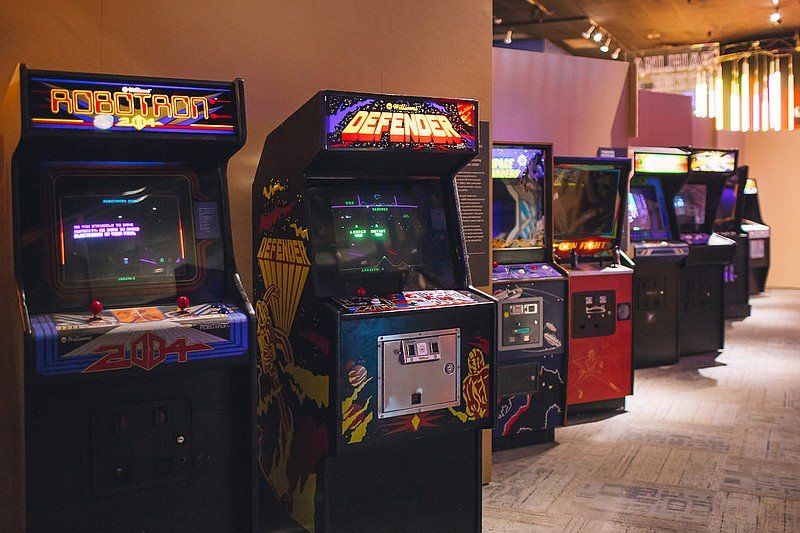 Arcade cabinets, part of Fleet Science Center's