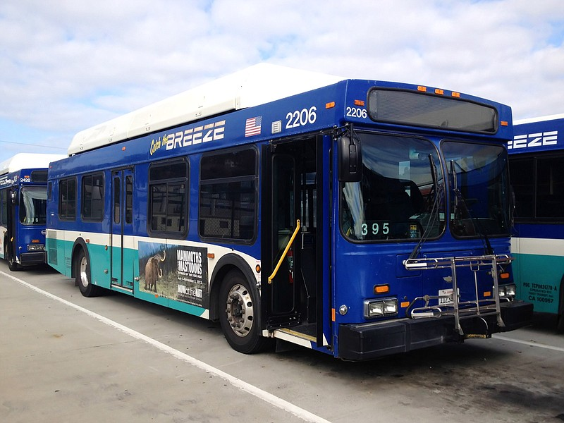 A North County Transit District Breeze bus is parked in the Oceanside First T...