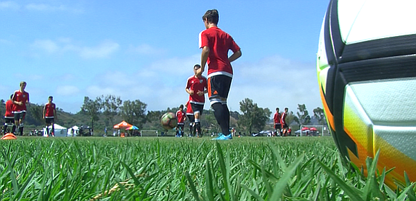 Soccer players at the San Diego Surf Cup on July 28, 2017.