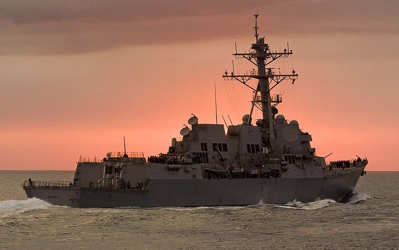 Arleigh Burke-class guided-missile destroyer USS Dewey (DDG 105) is shown in ...