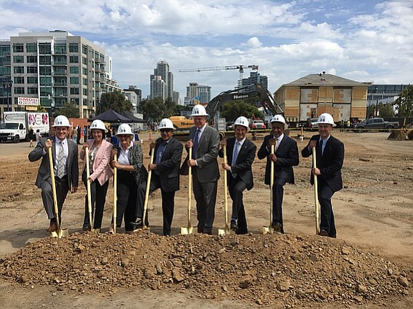UC San Diego officials and city leaders break ground on a development project...