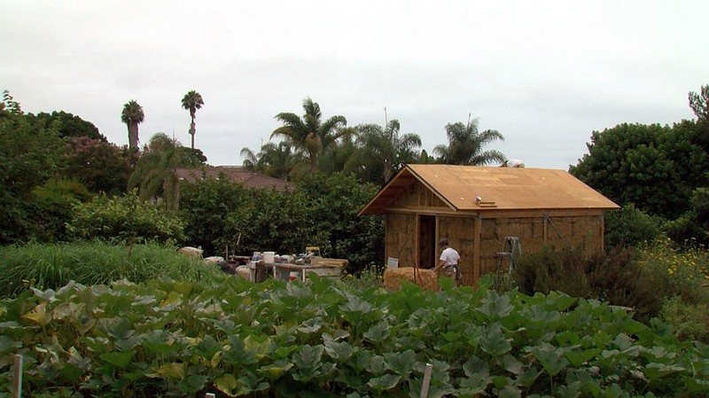 A straw bale house under construction at Coral Tree Farm in Encinitas, July 2...