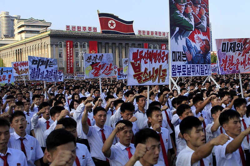 Tens of thousands of North Koreans gathered for a rally at Kim Il Sung Square...