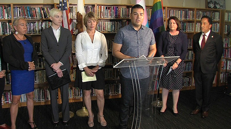 State Sen. Ricardo Lara (D) Bell Gardens at the San Diego LGBT Center discuss...
