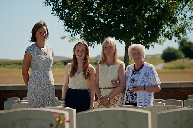 Fiona Bruce with contributors at the Warloy-Baillon Cemetary in the Somme, Fr...