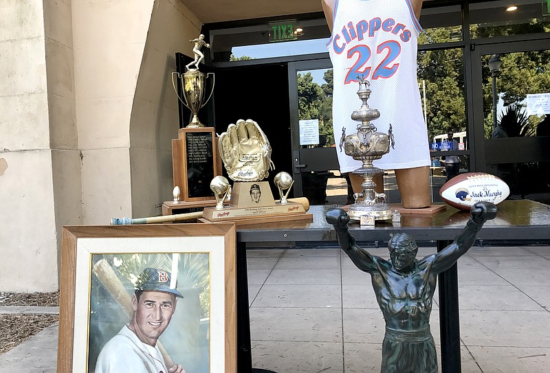 Some of the sports memorabilia up for auction from the San Diego Hall of Cham...
