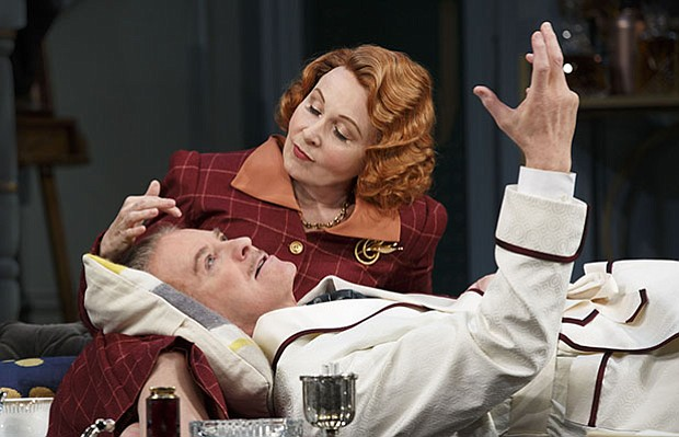 "Kate Burton and Kevin Kline in Broadway's ""Present Laughter."""