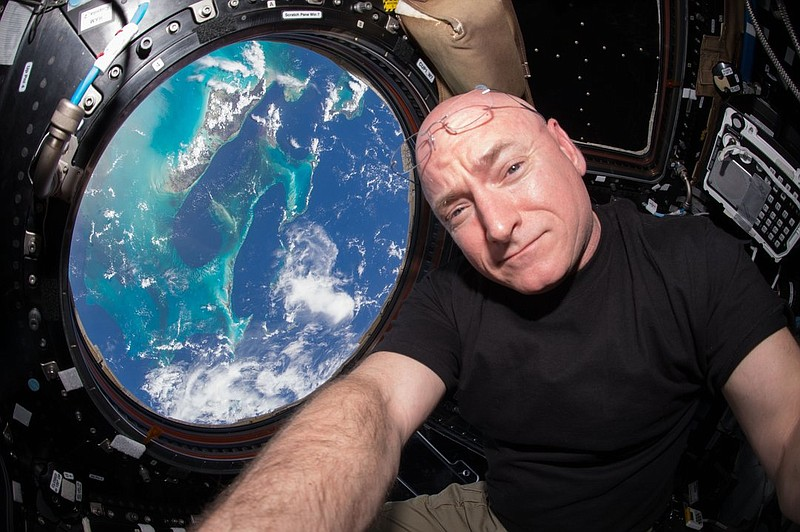 Scott Kelly takes a selfie inside the Cupola, a special module on the Interna...