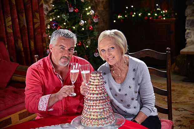 Paul Hollywood and Mary Berry with Paul's kransekake.