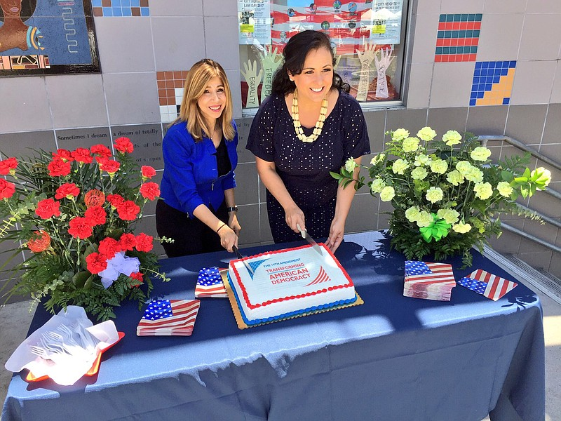 Interim San Diego County District Attorney Summer Stephan (left) and Californ...
