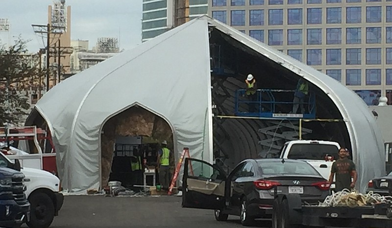 Construction workers piece together a large tent structure on 16th Street and. & Homeless Children In San Diego To Transition From Campground To ...