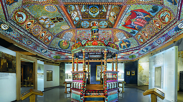 The Gwozdziec synagogue roof structure installed in the POLIN Museum of the H...