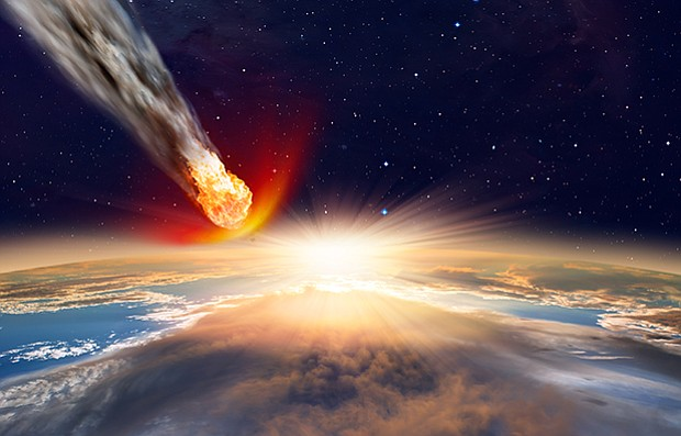 Attack of the asteroid on the Earth. Elements of this image furnished by NASA.