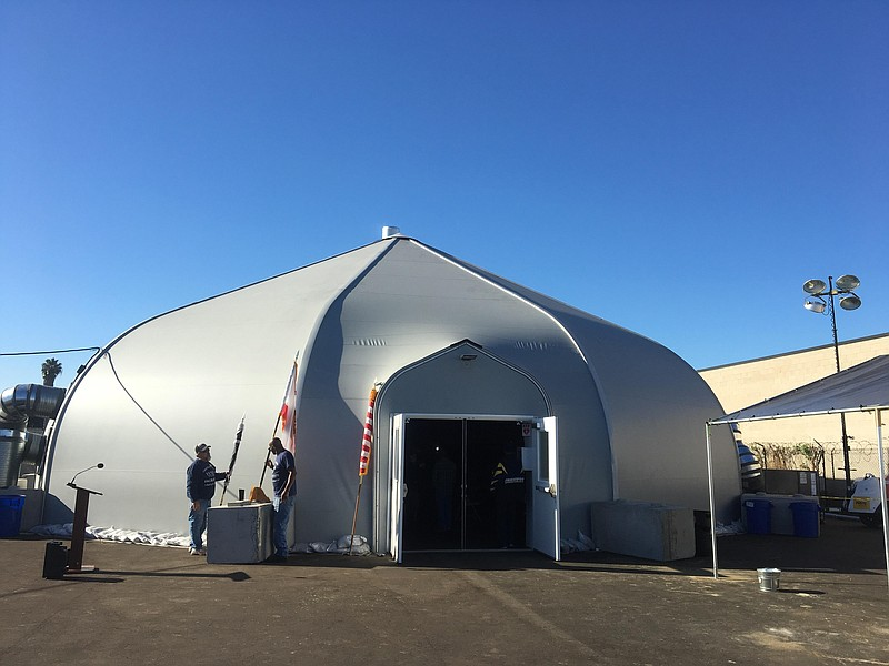 An outside view of the homeless tent shelter on Sports Arena Boulevard, Dec. ...