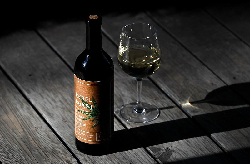 A bottle of Rebel Coast Winery's cannabis-infused wine sits on display in Los...