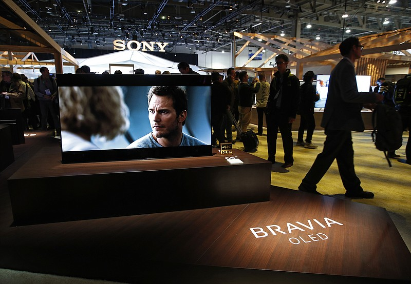 A Sony Bravia OLED television on display after a Sony news conference at CES ...