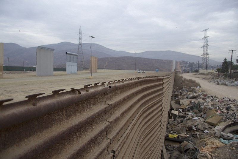 The prototypes for President Trump's wall are visible beyond the existing bor...