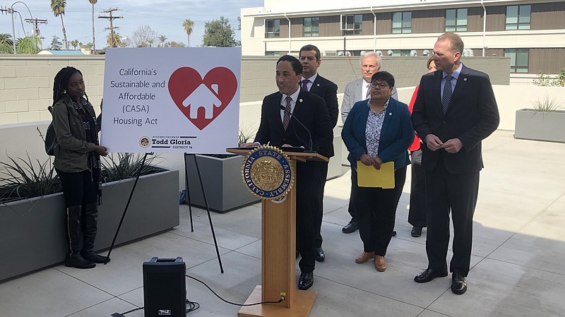 California State Assemblyman Todd Gloria holds a news conference with San Die...