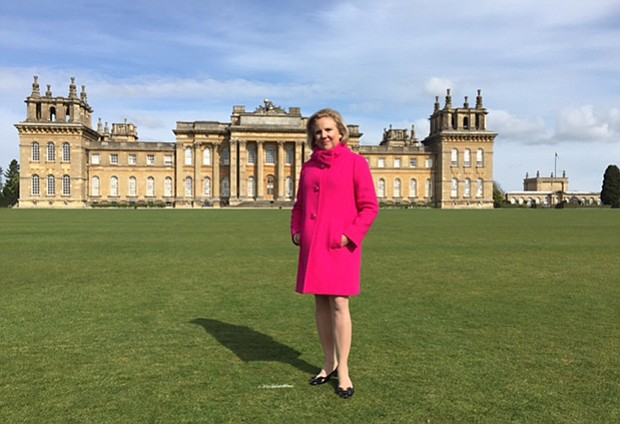 Host Holly Holden in front of Highclere Castle (the castle location for the s...