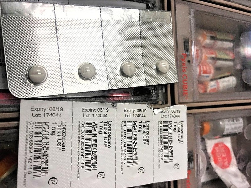 Packages of the anti-anxiety drug Lorazepam are shown, Feb. 15, 2018.