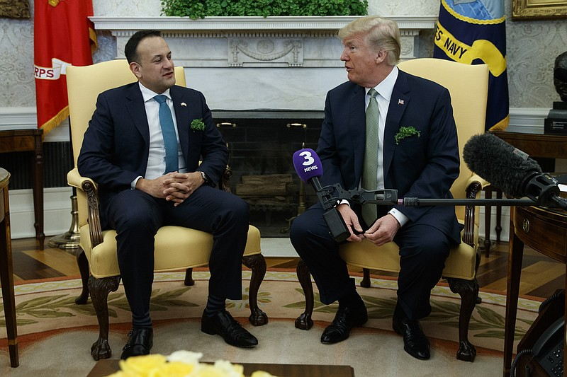 President Donald Trump meets with Irish Prime Minister Leo Varadkar in the Ov...
