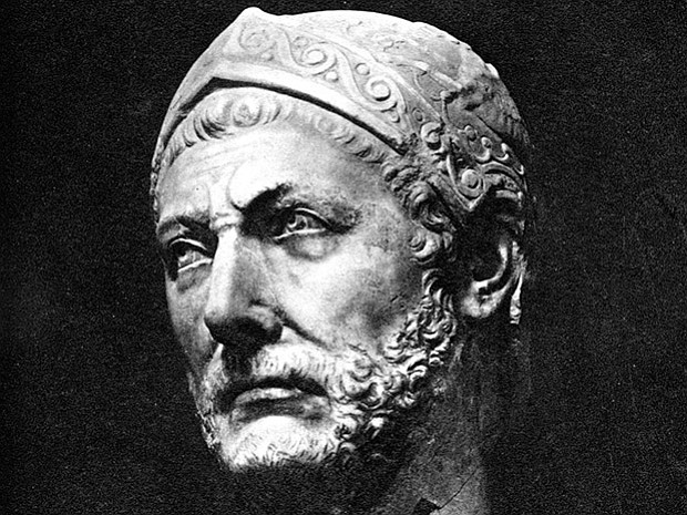 A marble bust, reputedly of Hannibal, originally found in the ancient city-st...