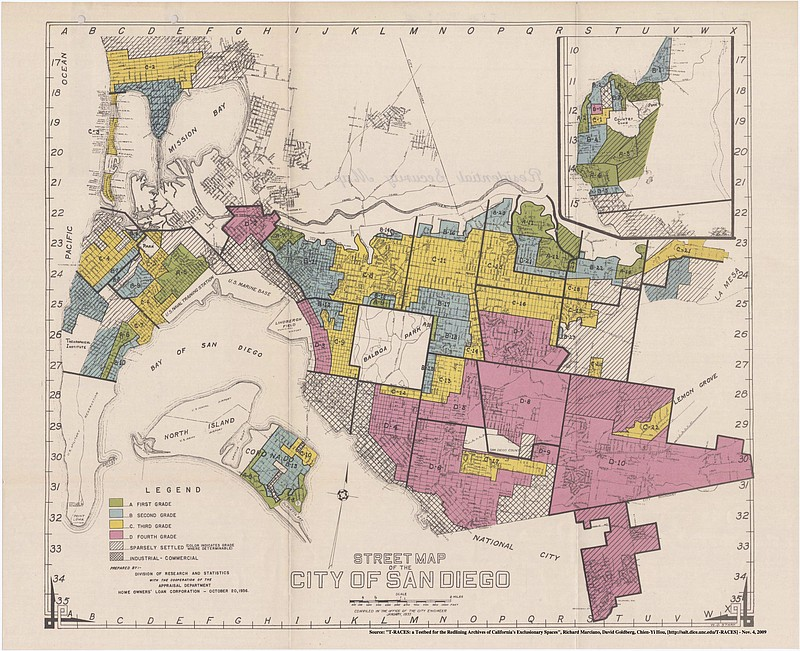 A 1936 map of San Diego from the Home Owners' Loan Corporation, marking which...