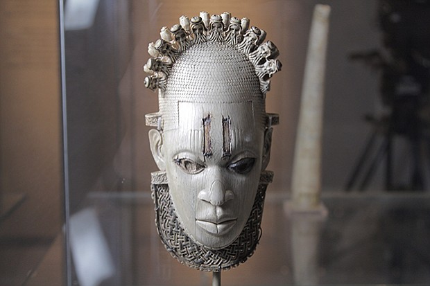 Carved Ivory mask-shaped hip pendant, inlaid with bronze Benin, Queen Idia, A...