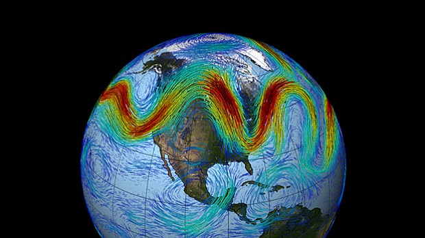 NASA simulation of the polar jet stream.