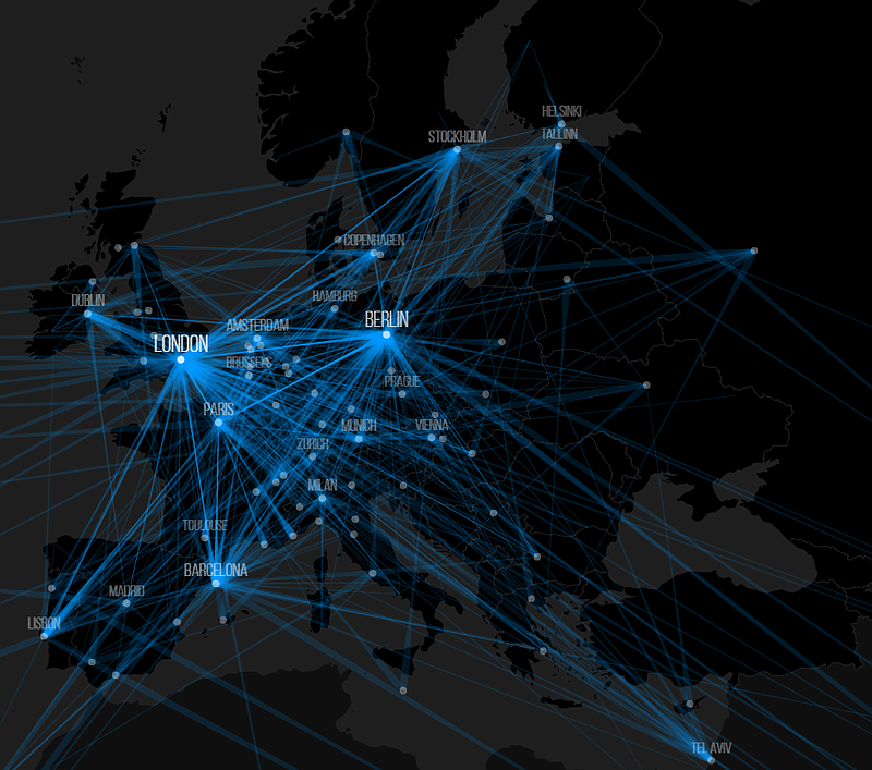A map showing the migration patterns of startup founders in Europe, created b...