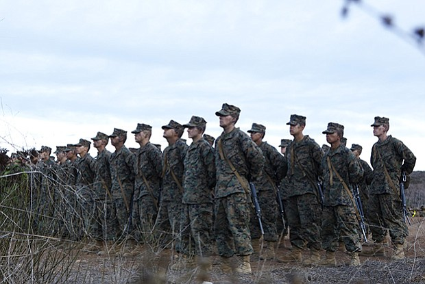 Marines at Eagle, Globe and Anchor ceremony, Oceanside, Calif. (undated photo)
