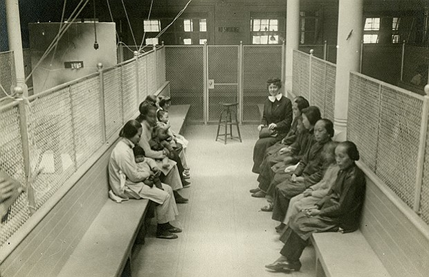 Women detainees at Angel Island in San Francisco Bay. Unlike Ellis Island, wh...