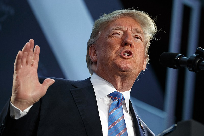 President Donald Trump speaks at the National Federation of Independent Busin...