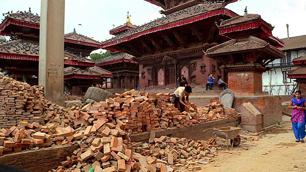 Earthquake damage in Nepal. Shot in Bangladesh, Bhutan, China, India, Mongoli...