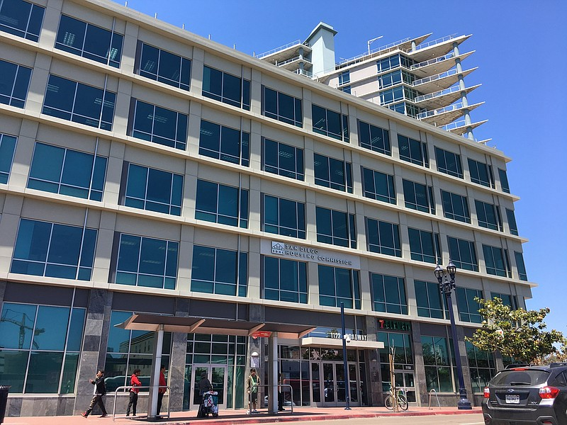 The exterior of the San Diego Housing Commission, June 27, 2018.